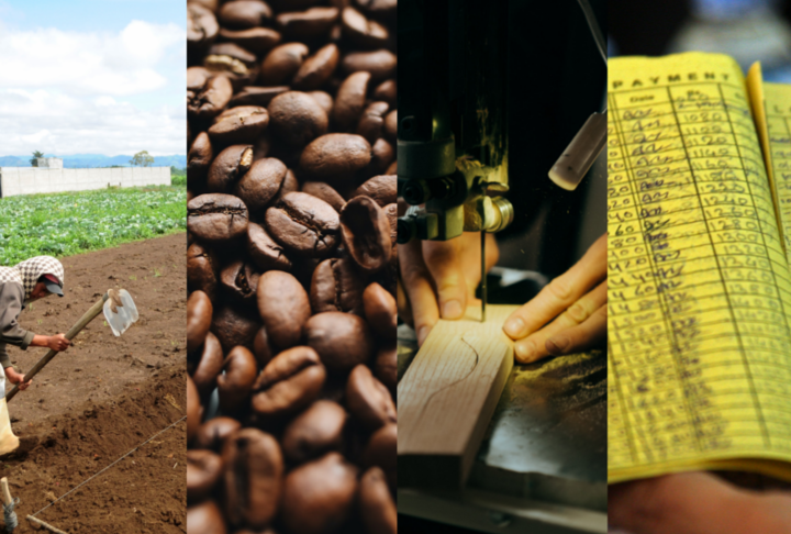 Publication Cover of a farmer, coffee beans, machine and paper in color