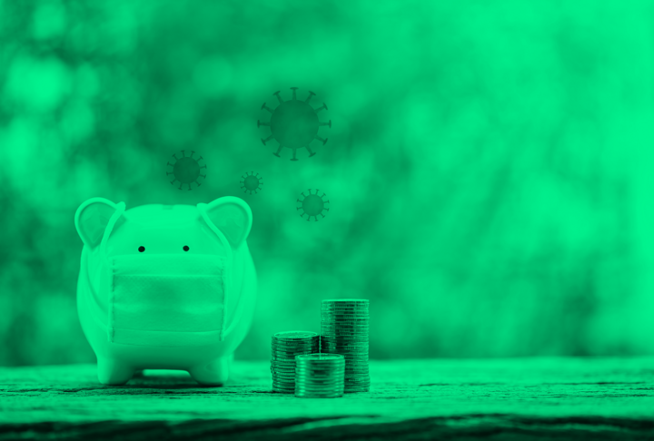 Piggy bank with mask and money, with coronavirus images